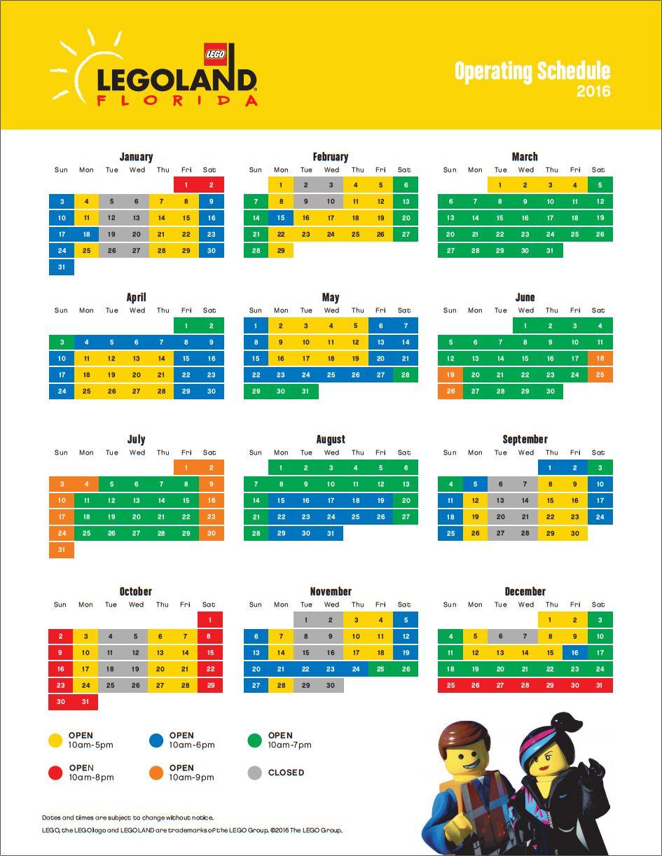 operating schedule template - legoland florida 2016 operating hours calendar legoland
