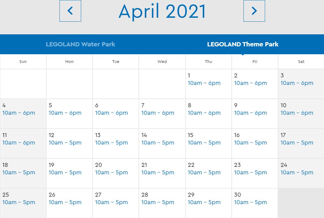LEGOLAND Florida April 2021 Park Hours