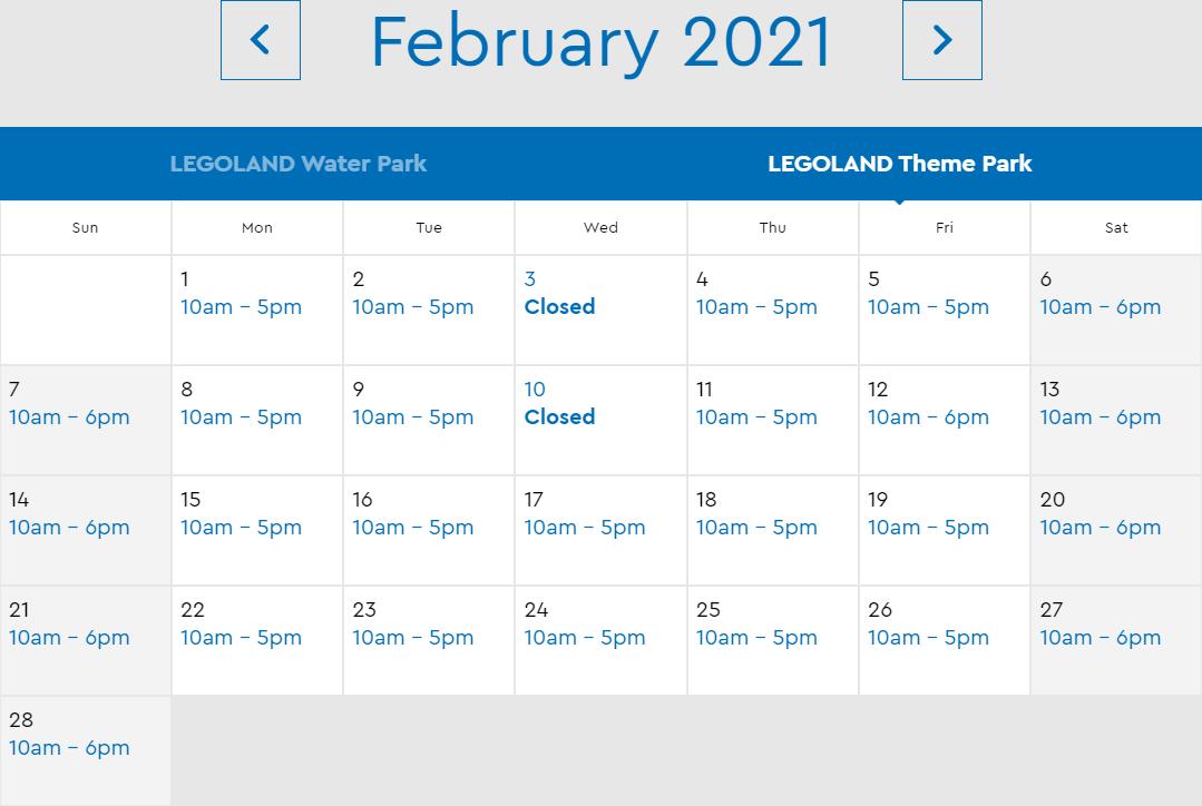 LEGOLAND Florida February 2021 Park Hours