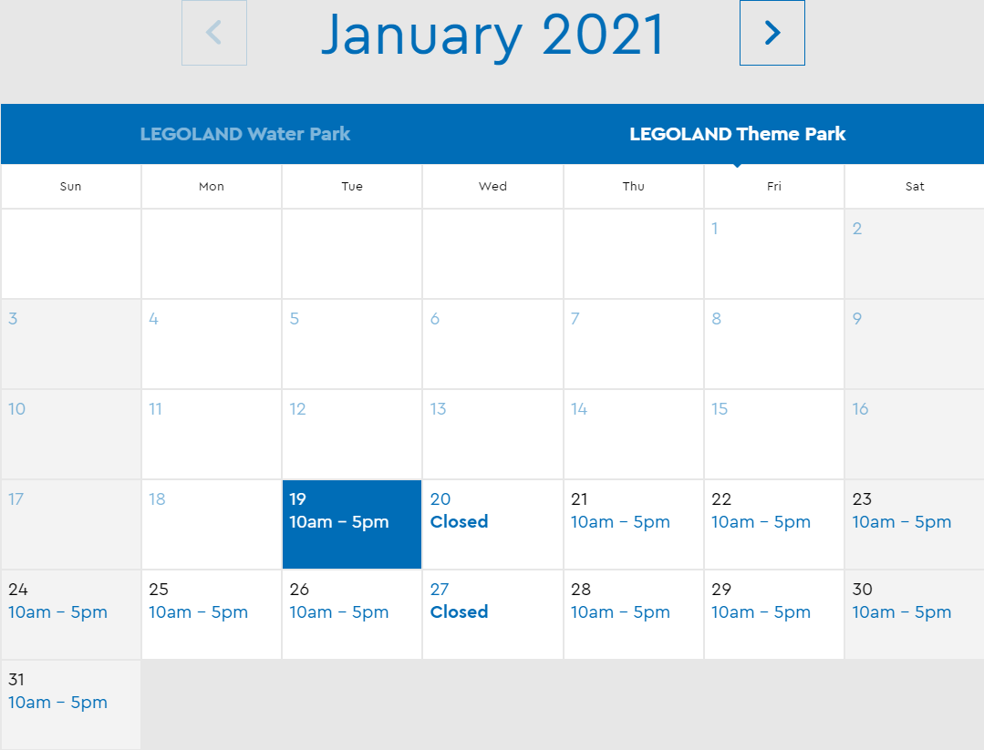 LEGOLAND Florida January 2021 Park Hours