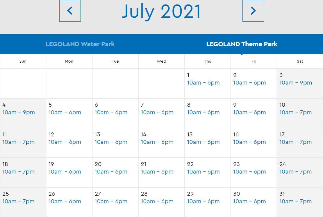 LEGOLAND Florida July 2021 Park Hours