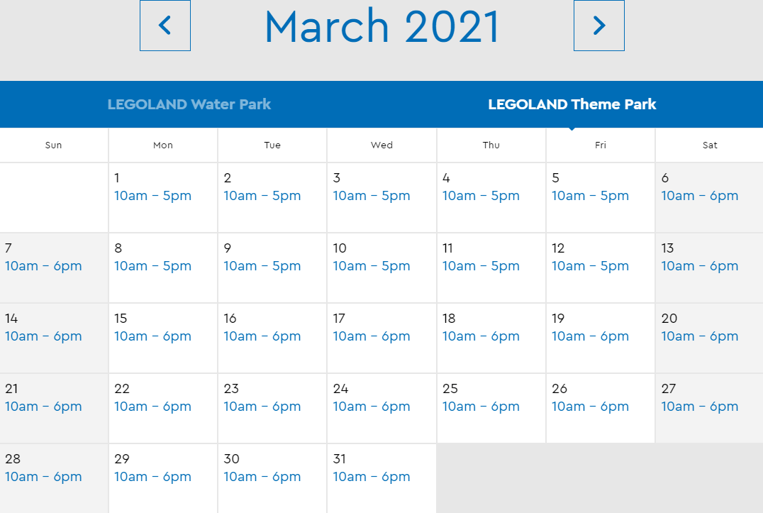 LEGOLAND Florida March 2021 Park Hours