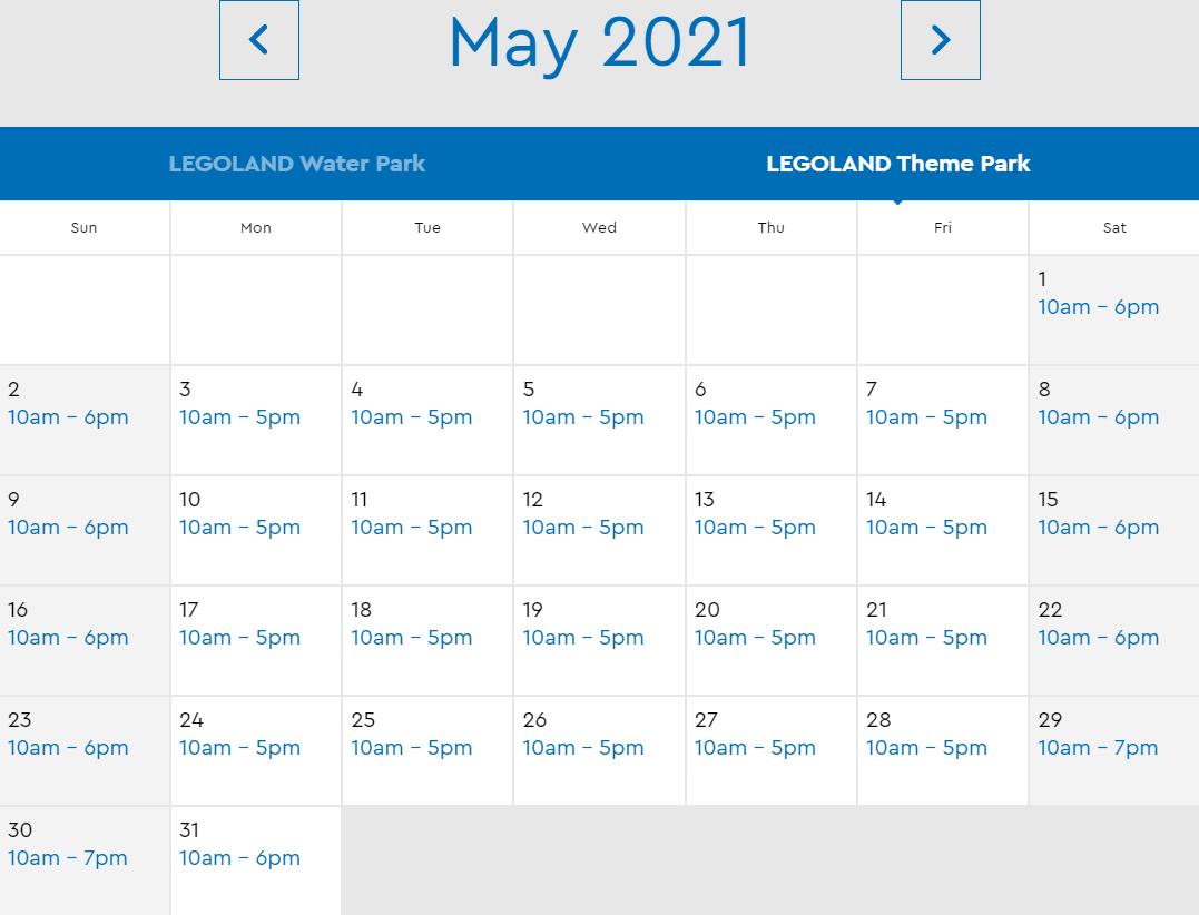 LEGOLAND Florida May 2021 Park Hours