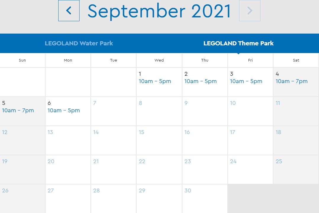 LEGOLAND Florida August 2021 Park Hours